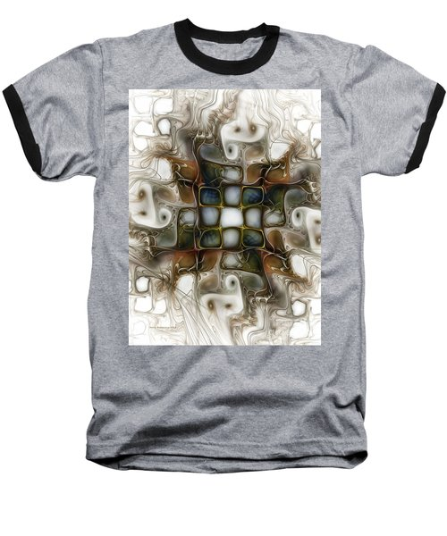 Memory Boxes-fractal Art Baseball T-Shirt by Karin Kuhlmann