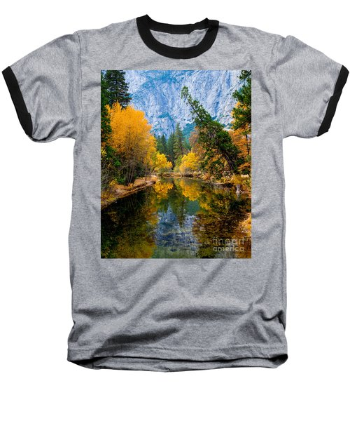 Merced River And Leaning Pine Baseball T-Shirt