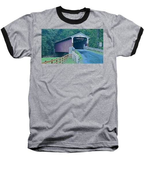 Mercer's Mill Covered Bridge Baseball T-Shirt by Michael Porchik