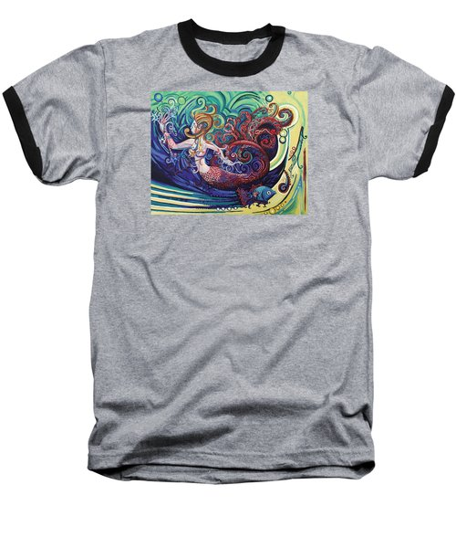 Mermaid Gargoyle Baseball T-Shirt by Genevieve Esson