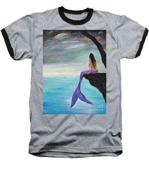 Mermaid Oasis Baseball T-Shirt by Leslie Allen