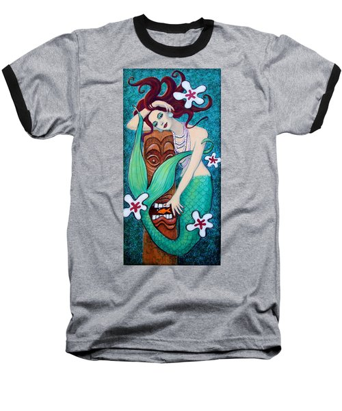 Mermaid's Tiki God Baseball T-Shirt by Sue Halstenberg