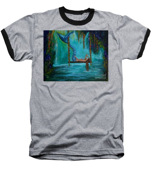 Mermaids Tranquility Baseball T-Shirt by Leslie Allen