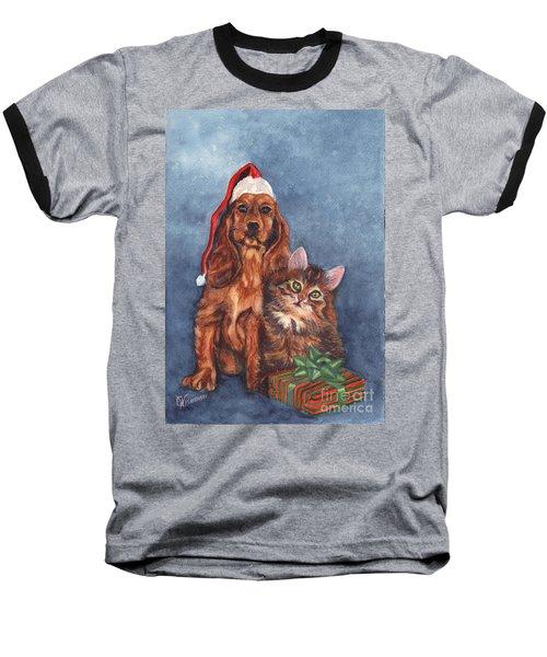 Baseball T-Shirt featuring the painting Merry Christmas by Carol Wisniewski