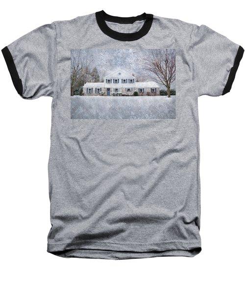 Wintry Holiday Baseball T-Shirt by Shelley Neff