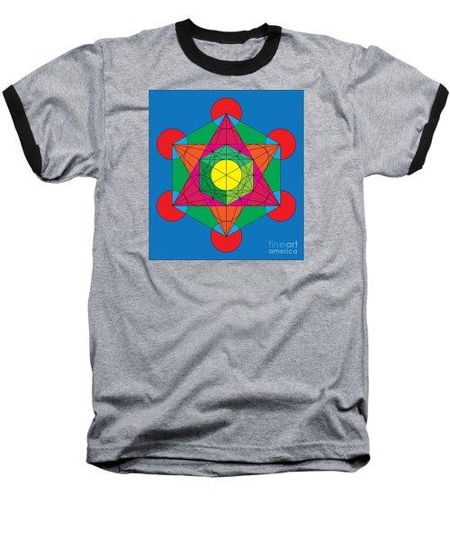 Metatron's Cube In Colors Baseball T-Shirt