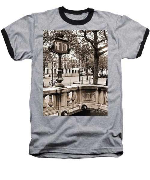 Metro Franklin Roosevelt - Paris - Vintage Sign And Streets Baseball T-Shirt