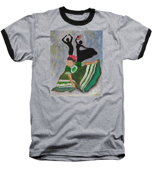 Baseball T-Shirt featuring the painting Mexican Hat Dance by Ella Kaye Dickey