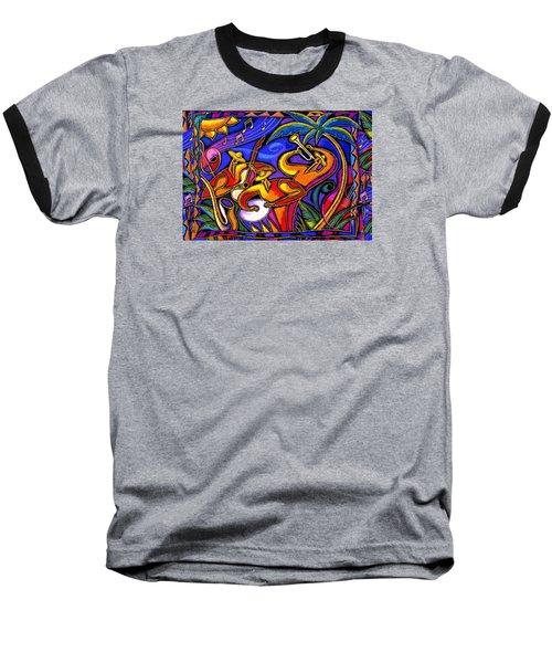 Latin Music Baseball T-Shirt by Leon Zernitsky