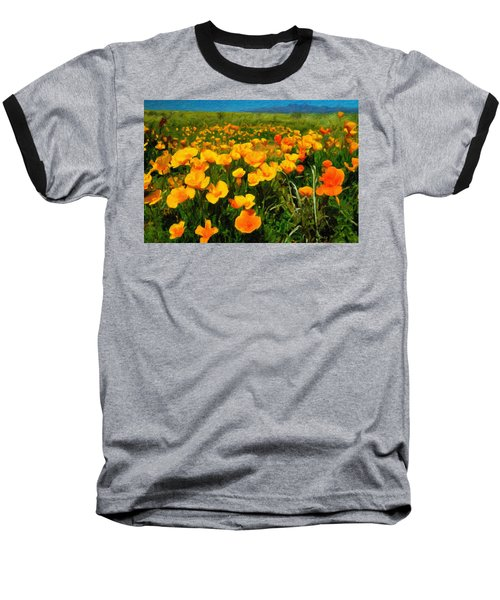 Baseball T-Shirt featuring the digital art Mexican Poppies by Chuck Mountain