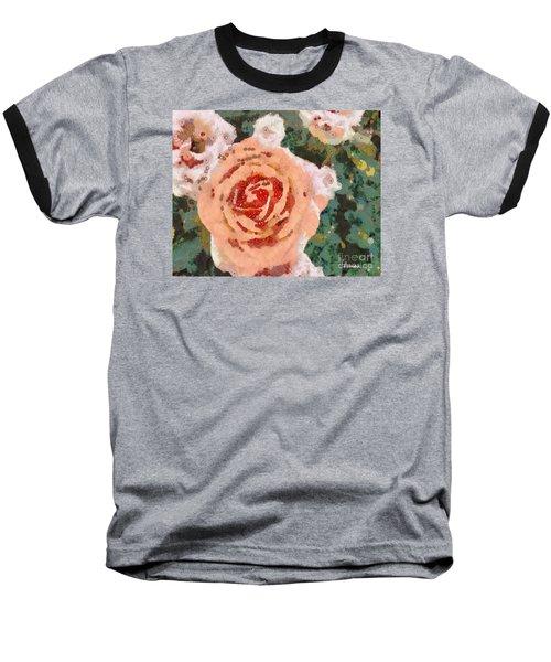 Baseball T-Shirt featuring the painting Alameda Meyers House Garden Klimt Rose by Linda Weinstock