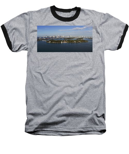 Miami And Star Island Skyline Baseball T-Shirt
