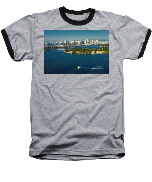 Miami City Biscayne Bay Skyline Baseball T-Shirt