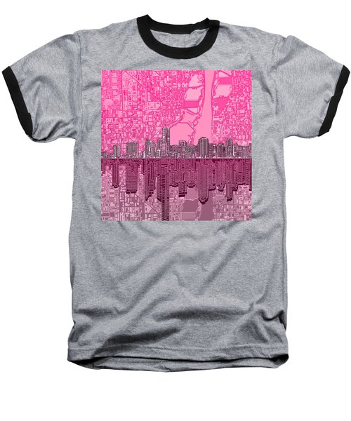 Miami Skyline Abstract 4 Baseball T-Shirt by Bekim Art