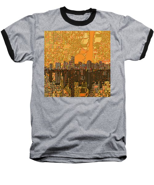 Miami Skyline Abstract 5 Baseball T-Shirt by Bekim Art