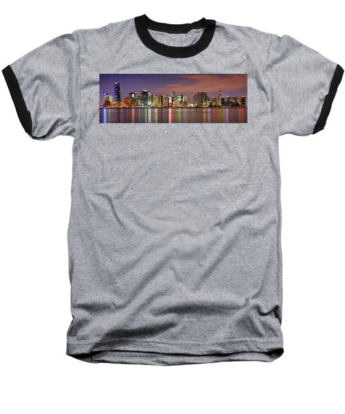 Miami Skyline At Dusk Sunset Panorama Baseball T-Shirt by Jon Holiday