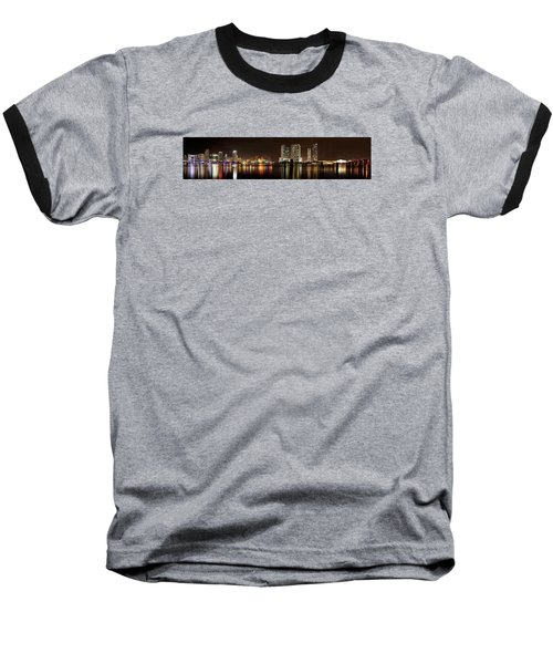 Miami - Skyline Panorama Baseball T-Shirt by Brendan Reals