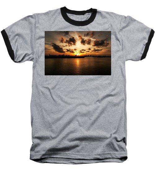 Miami Skyline Sunset Baseball T-Shirt