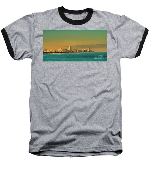 Miami Sunset Baseball T-Shirt by Olga Hamilton