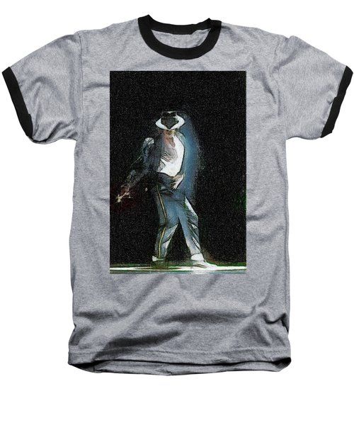 Baseball T-Shirt featuring the painting Michael Jackson by Georgi Dimitrov