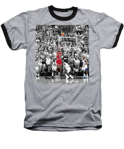Michael Jordan Buzzer Beater Baseball T-Shirt by Brian Reaves