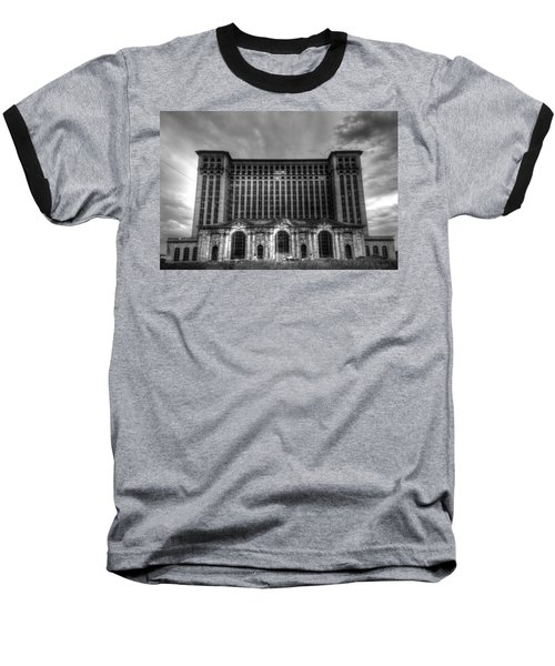 Michigan Central Station Bw Baseball T-Shirt by Jonathan Davison