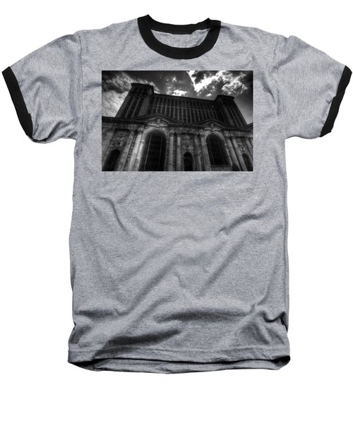 Michigan Central Station Highrise Baseball T-Shirt by Jonathan Davison