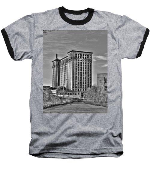 Michigan Central Station Baseball T-Shirt by Nicholas  Grunas