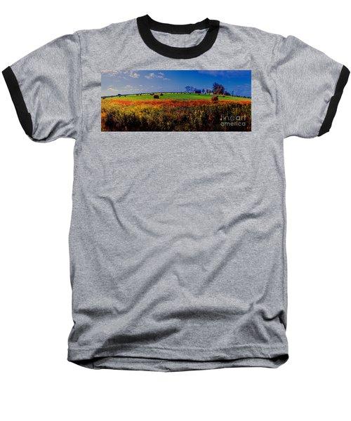 Michigan Uper  Farm Barn And Rolls Of Hay Brimly Michigan Baseball T-Shirt