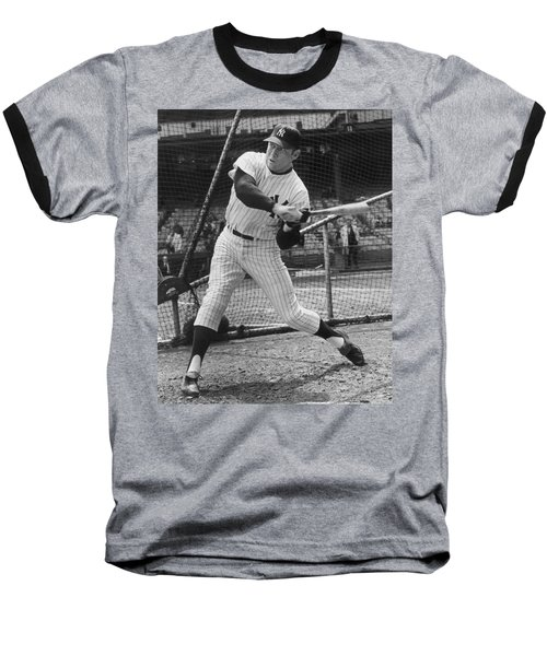 Mickey Mantle Poster Baseball T-Shirt