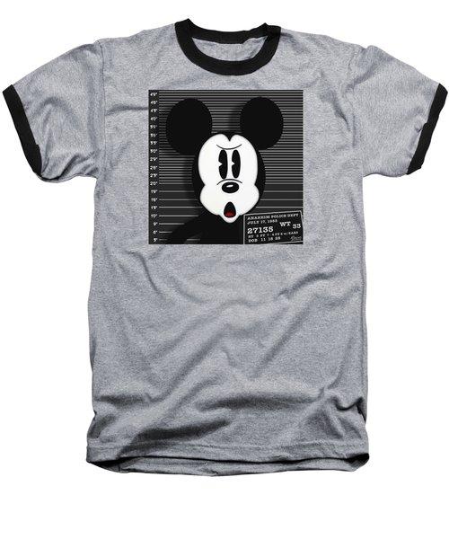 Mickey Mouse Disney Mug Shot Baseball T-Shirt by Tony Rubino