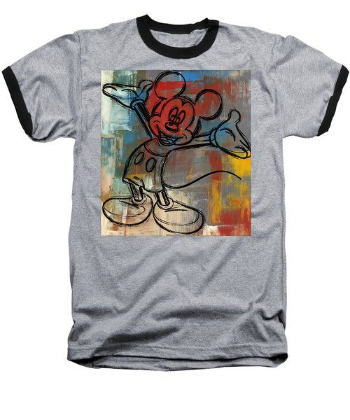Mickey Mouse Sketchy Hello Baseball T-Shirt by Paulette B Wright