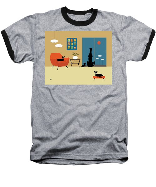 Mid Century Dogs And Cats Baseball T-Shirt