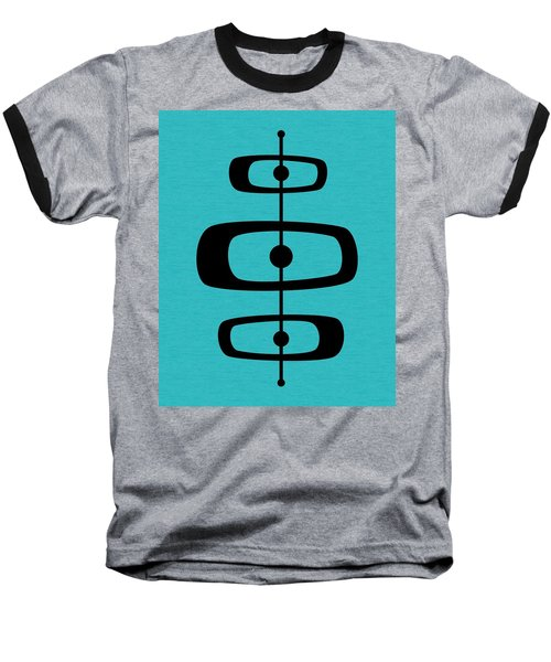 Mid Century Shapes 2 On Turquoise Baseball T-Shirt