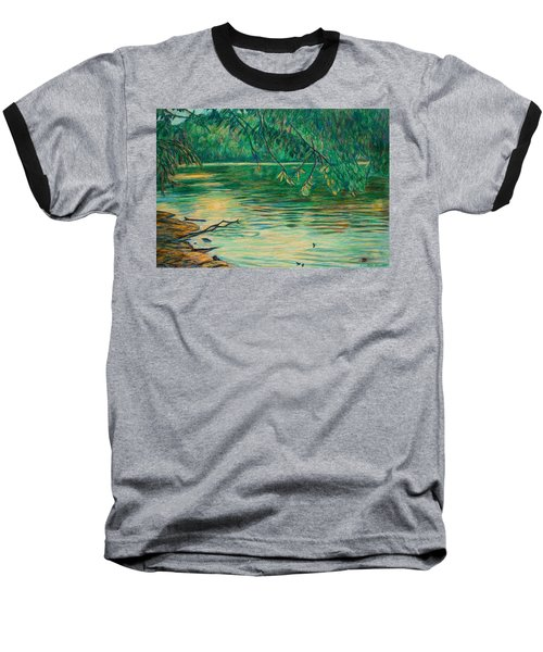 Baseball T-Shirt featuring the painting Mid-spring On The New River by Kendall Kessler