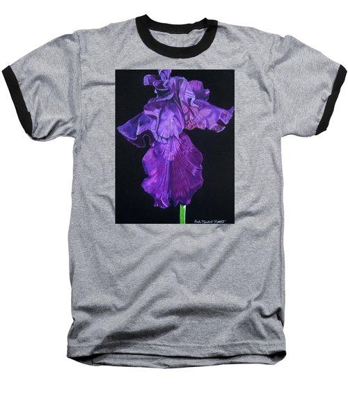 Midnight Iris Baseball T-Shirt by Anita Putman