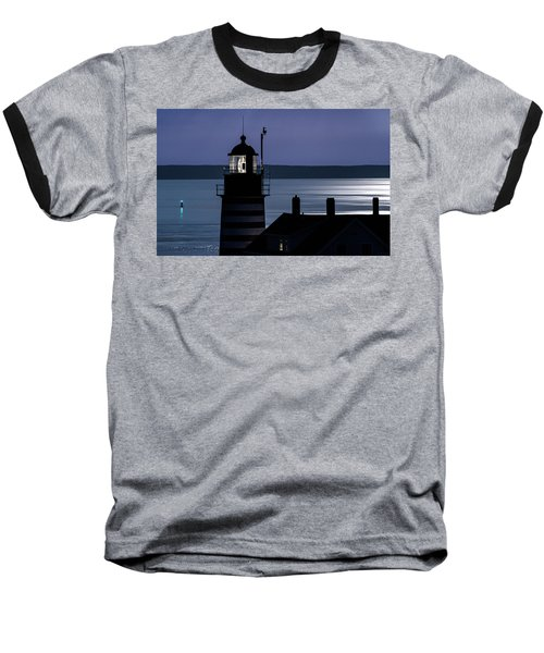 Baseball T-Shirt featuring the photograph Midnight Moonlight On West Quoddy Head Lighthouse by Marty Saccone