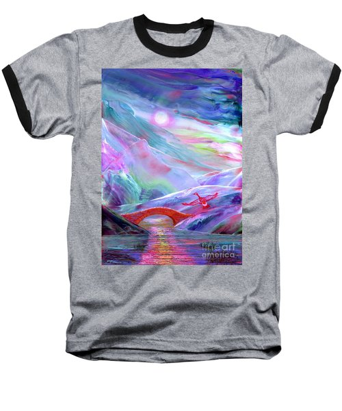 Baseball T-Shirt featuring the painting   Midnight Silence, Flying Goose by Jane Small