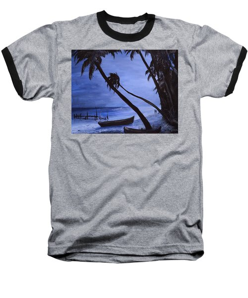 Baseball T-Shirt featuring the painting Midnight Stroll In Paradise by Alan Lakin
