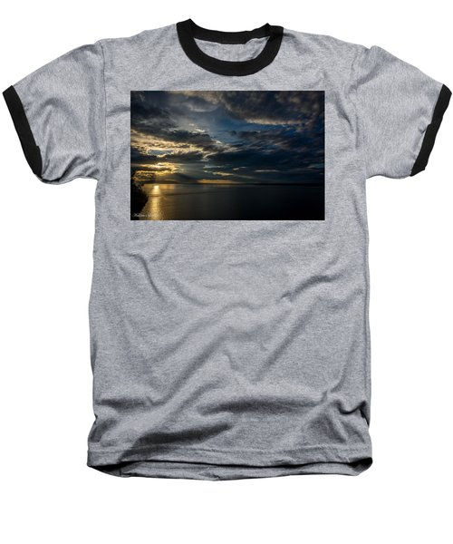 Midnight Sun Over Cook Inlet Baseball T-Shirt by Andrew Matwijec