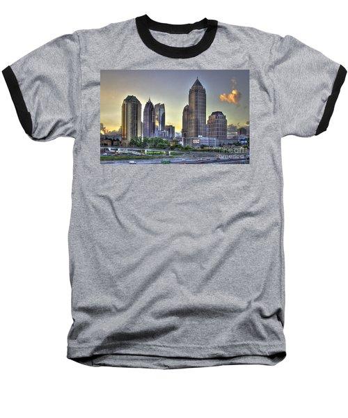 Midtown Atlanta Sunrise Baseball T-Shirt by Reid Callaway