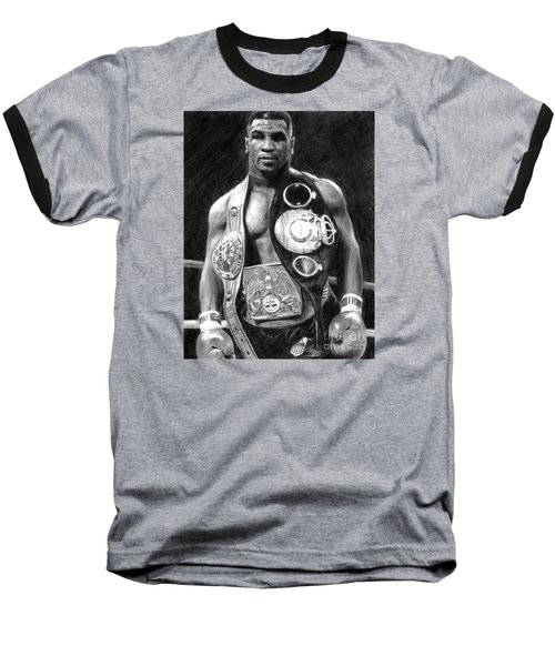 Mike Tyson Pencil Drawing Baseball T-Shirt