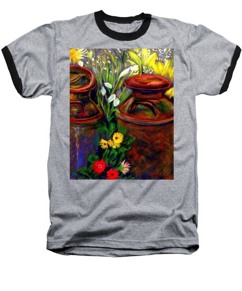 Baseball T-Shirt featuring the pastel Milk Cans At Flower Show Sold by Antonia Citrino