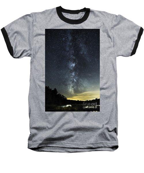 Milky Way Over Beaver Pond In Phippsburg Maine 2 Baseball T-Shirt