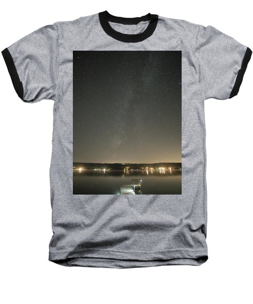 Milky Way Spills Into Conesus Baseball T-Shirt by Richard Engelbrecht