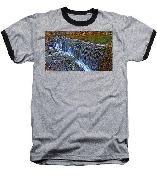 Mill Pond Spillover  Baseball T-Shirt by Tom Culver