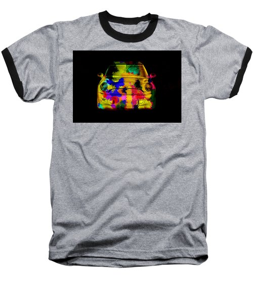 Mini Cooper Colorful Abstract On Black Baseball T-Shirt by Eti Reid