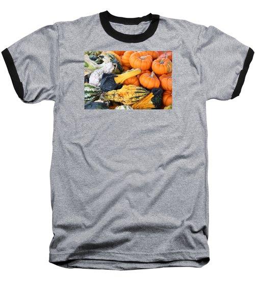 Baseball T-Shirt featuring the photograph Mini Pumpkins And Gourds by Cynthia Guinn
