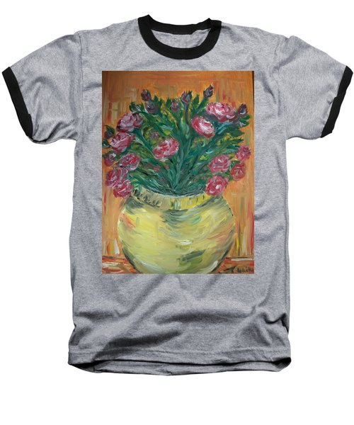 Baseball T-Shirt featuring the painting Mini Roses by Teresa White