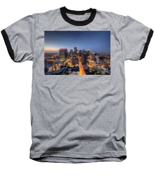Minneapolis Skyline At Night Baseball T-Shirt